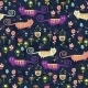 Bright Cartoon Pattern with Animals - GraphicRiver Item for Sale