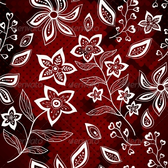 White Floral Pattern On Red Mosaic Background