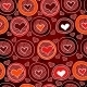Red Pattern with Hearts in the Circles - GraphicRiver Item for Sale