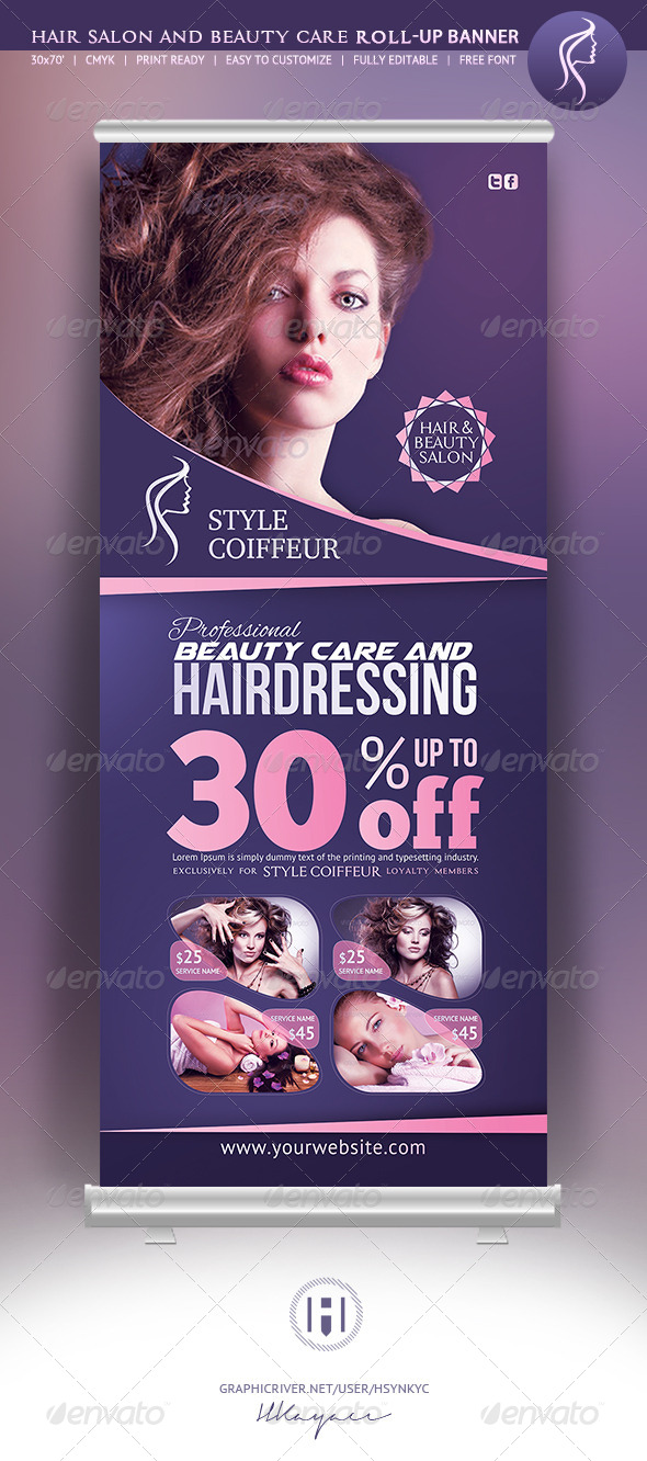 Hair & Beauty Rollup Banner - Signage Print Templates