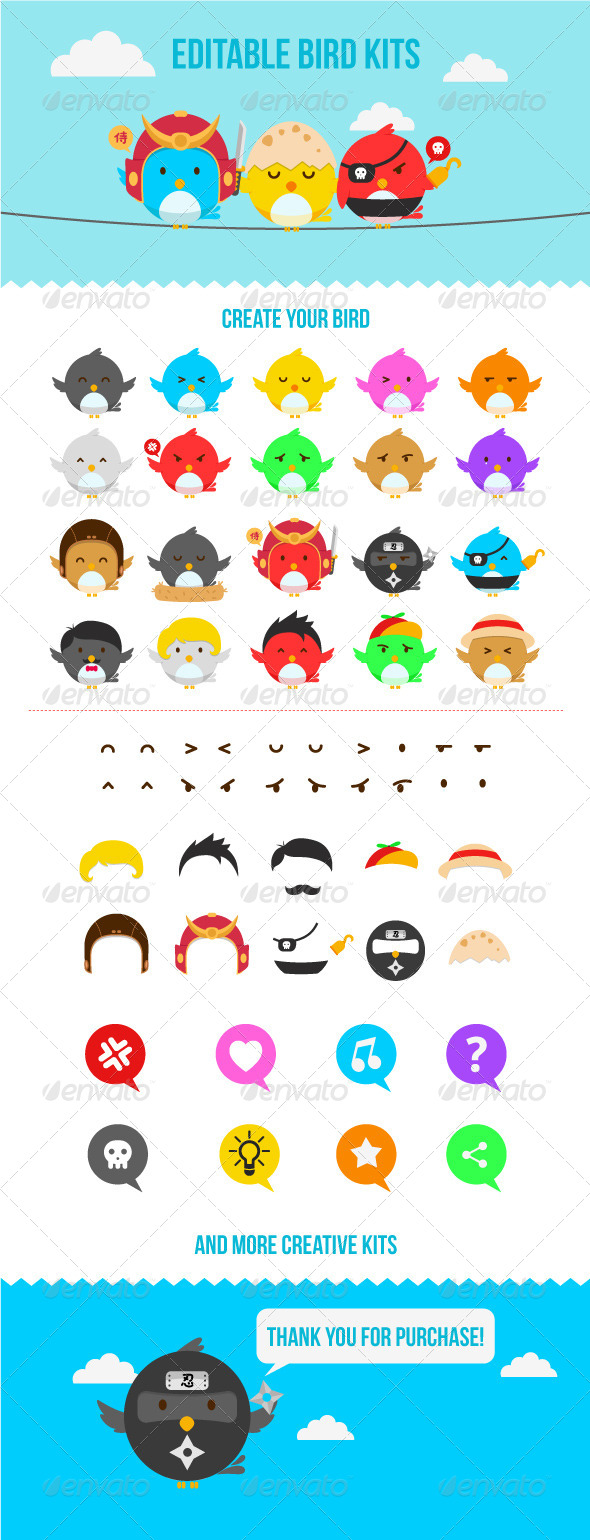 Editable Bird Characters Pack - Animals Characters