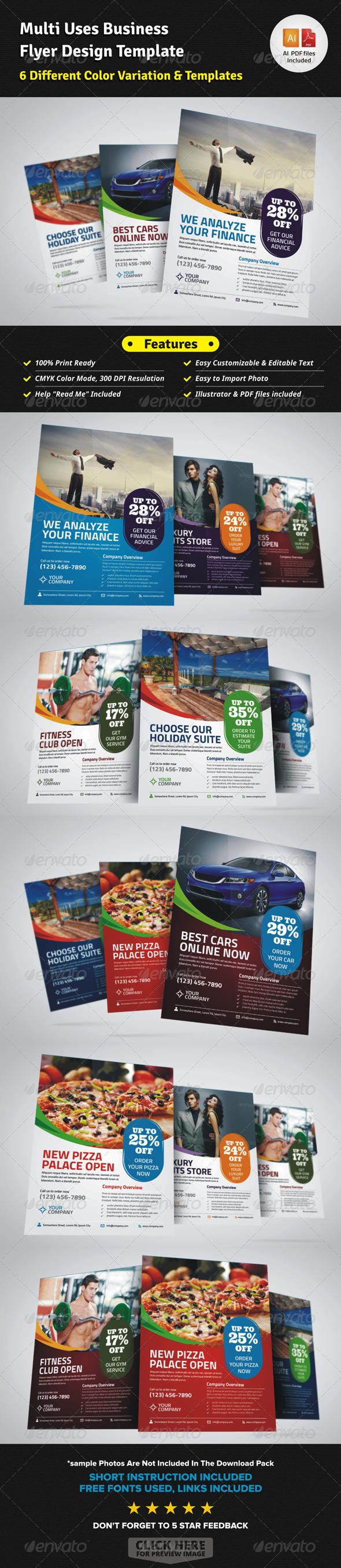 Multi Uses Business Flyer Ad Template - Corporate Flyers