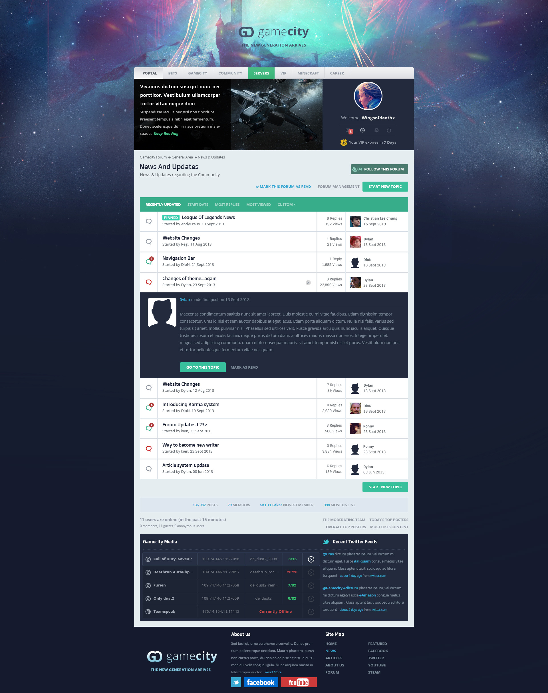 GameCity -- Flat & Clean Gaming Template by Deriggs007 ...