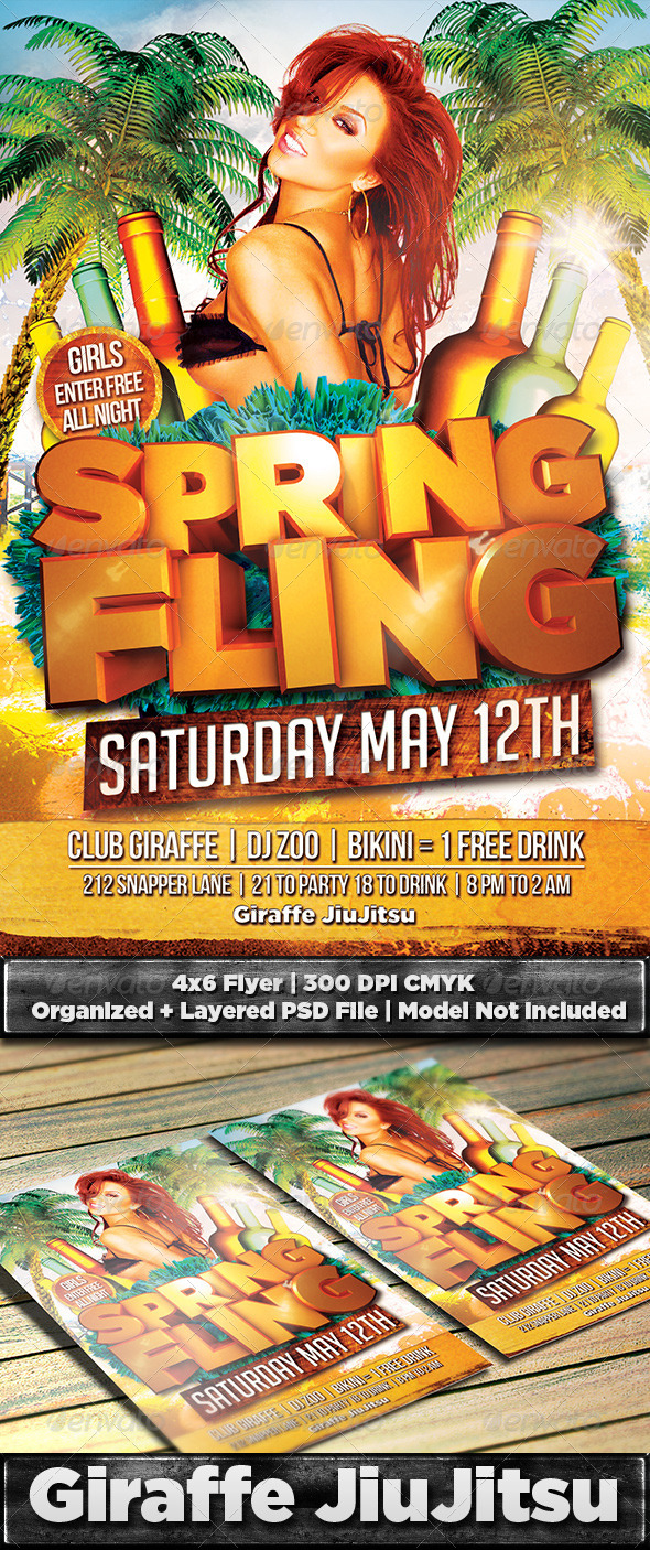 Spring Fling Flyer Template PSD - Clubs & Parties Events