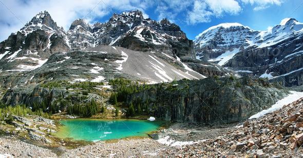 Small green Lake in lake Oesa trail - Stock Photo - Images