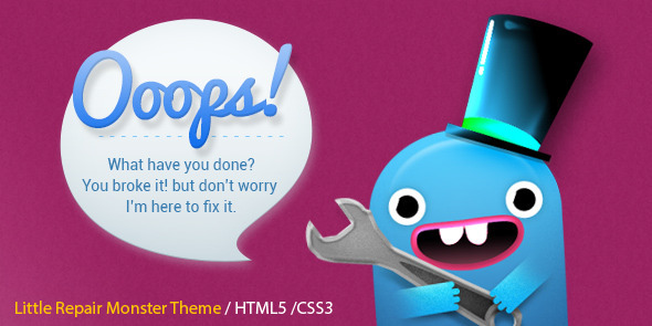 Little Repair Monster – Responsive 404 Template