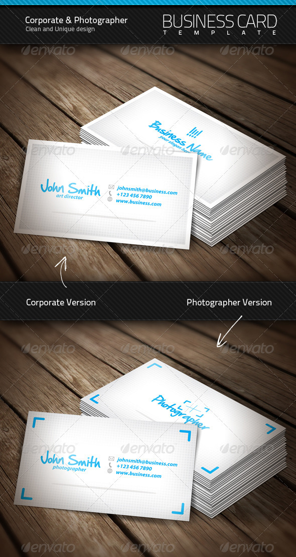 Clean Corporate & Photographer Business Card - Corporate Business Cards