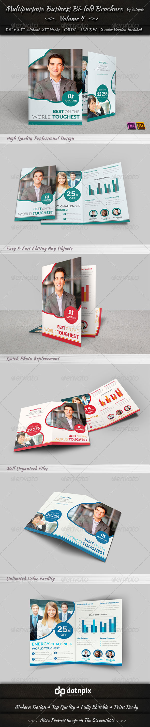 Multipurpose Business Bi-Fold Brochure | Volume 4 - Corporate Brochures