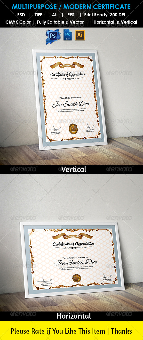 Multipurpose Modern Certificate Psd Tiff Ai By Aslamhossain