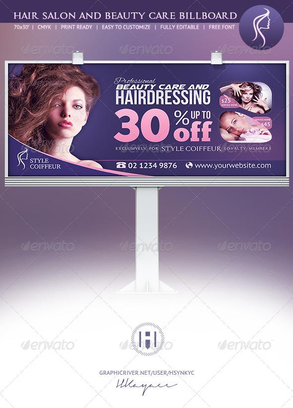 Hair & Beauty Billboard - Signage Print Templates
