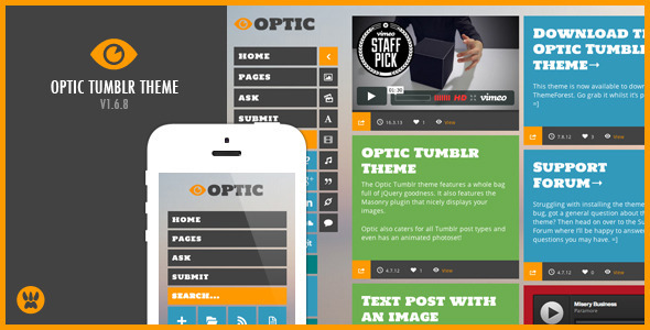 Optic – A Responsive Masonry Tumblr Theme