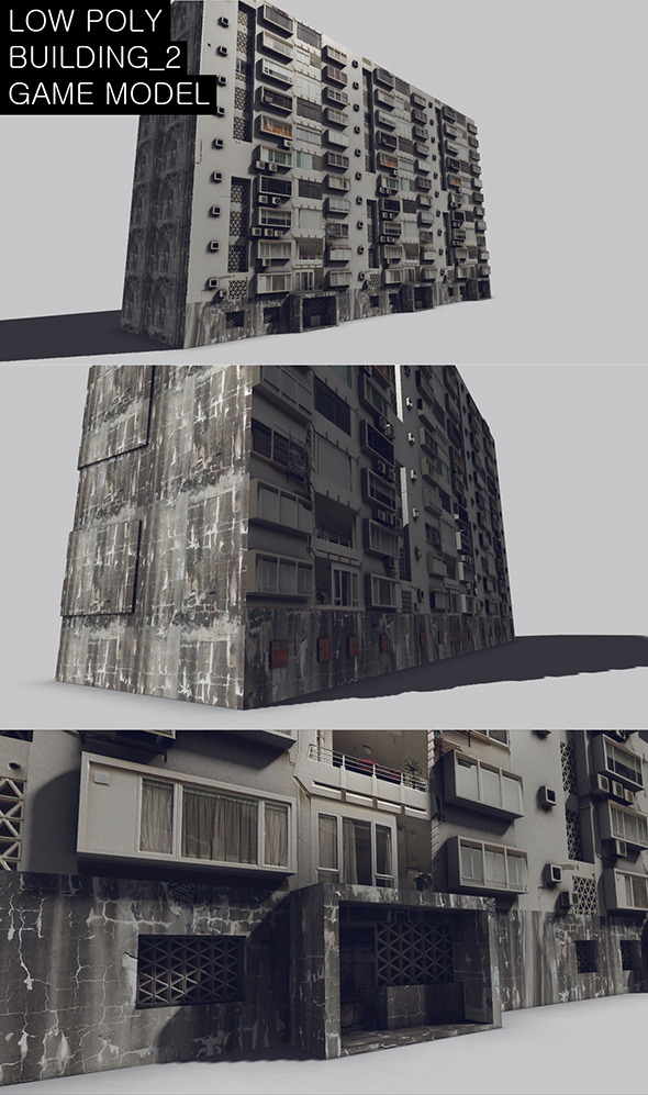Low Poly Building_2 Game Model - 3DOcean Item for Sale