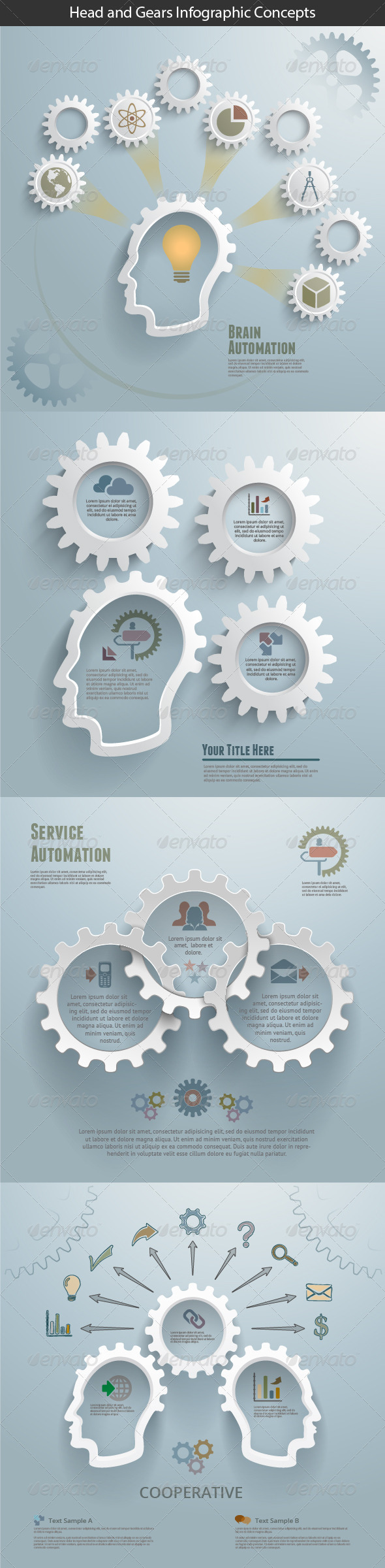 Head and Gears Infographic Concepts - Infographics