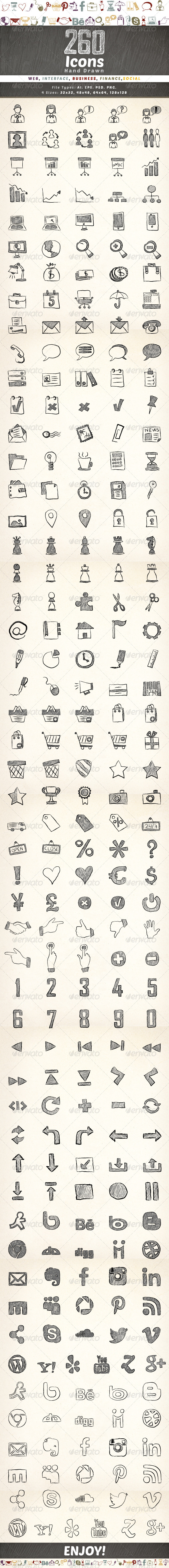 260 Hand Drawn Icons - Icons