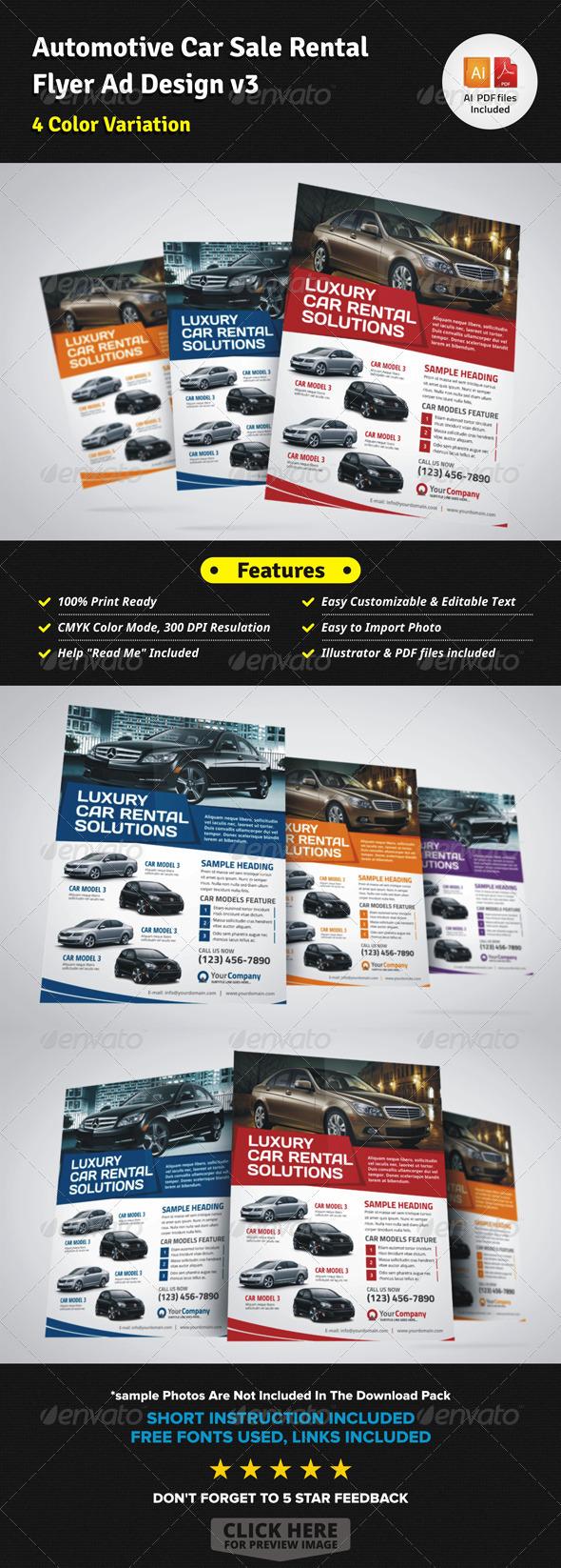 automotive car sale rental flyer ad v3 by jbn comilla graphicriver. Black Bedroom Furniture Sets. Home Design Ideas