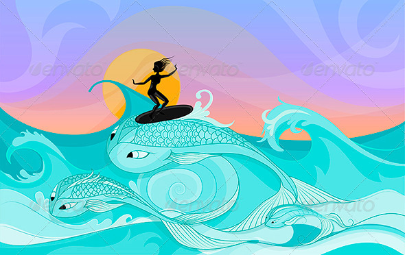 Female Surfer on Ocean Waves Stylized as Big Fish - Sports/Activity Conceptual