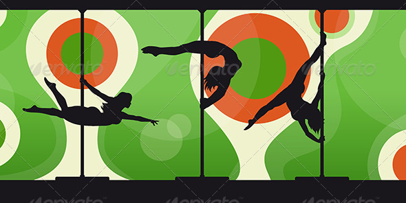 Silhouettes of Pole Dancers on Abstract Background - Sports/Activity Conceptual
