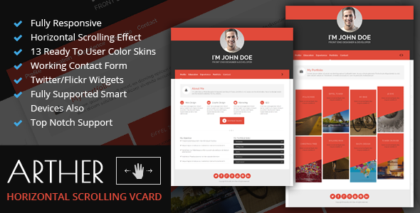 Arther : BS3 Horizontal Scrolling Vcard Template - Virtual Business Card Personal