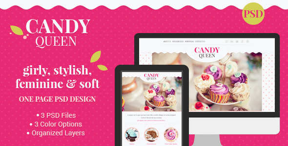 Candy Queen - Beautiful, Clean One Page Portfolio - Creative PSD Templates