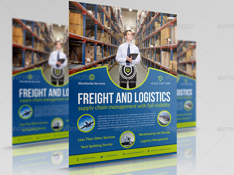 Freight and Logistic Services Flyer Template Vol.4 by OWPictures ...