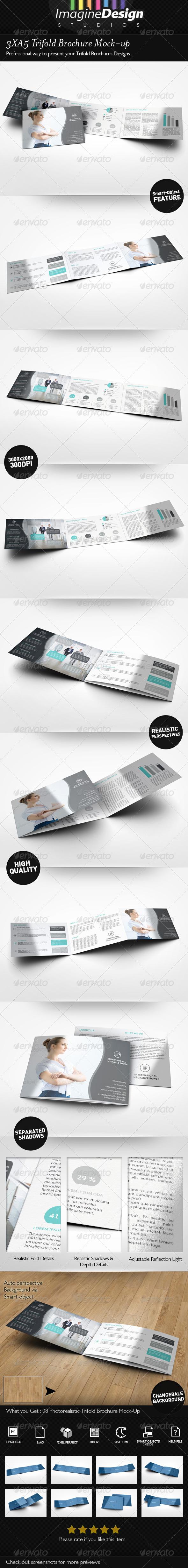 3xA5 Trifold Brochure Mock-up Landscape - Brochures Print