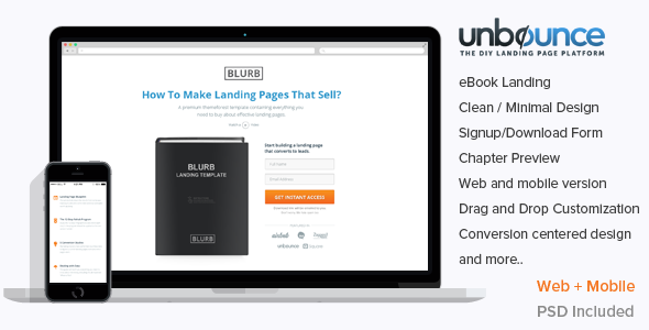 Blurb Unbounce ebook Landing Template - Unbounce Landing Pages Marketing