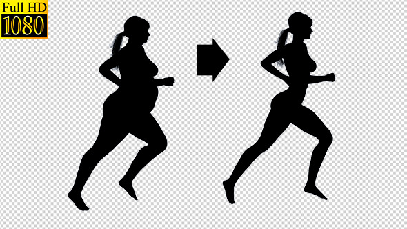 Overweight Woman Running Loss Weight Silhouette By Nirovfx Videohive