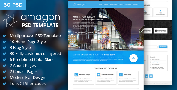 Amagon : Flat Multipurpose PSD Template - Business Corporate