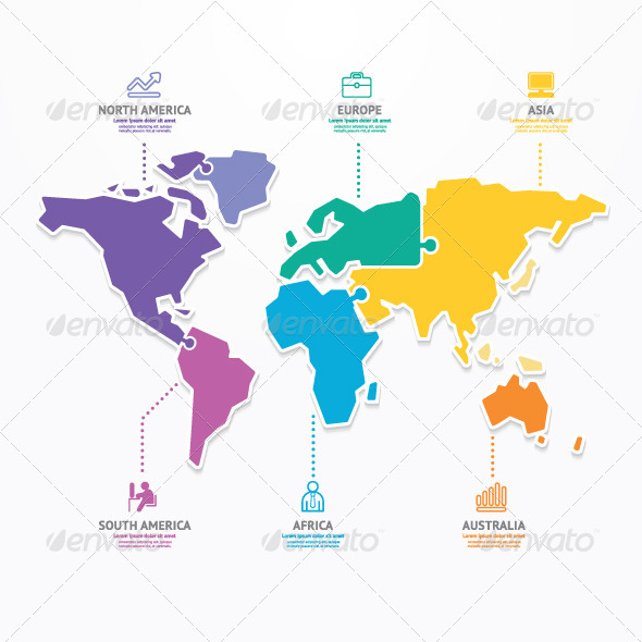 World map infographic template jigsaw concept by pongsuwan world map infographic template jigsaw concept infographics gumiabroncs Gallery