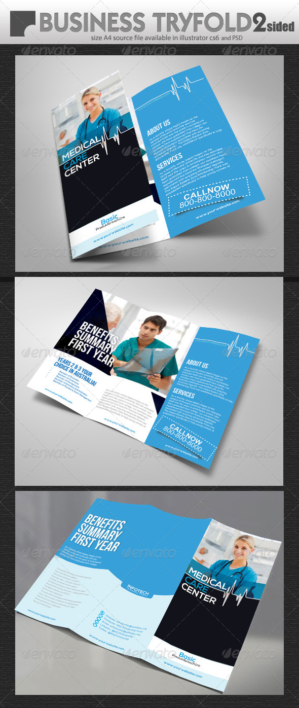 Medical Care Try Fold Brochure  - Print Templates