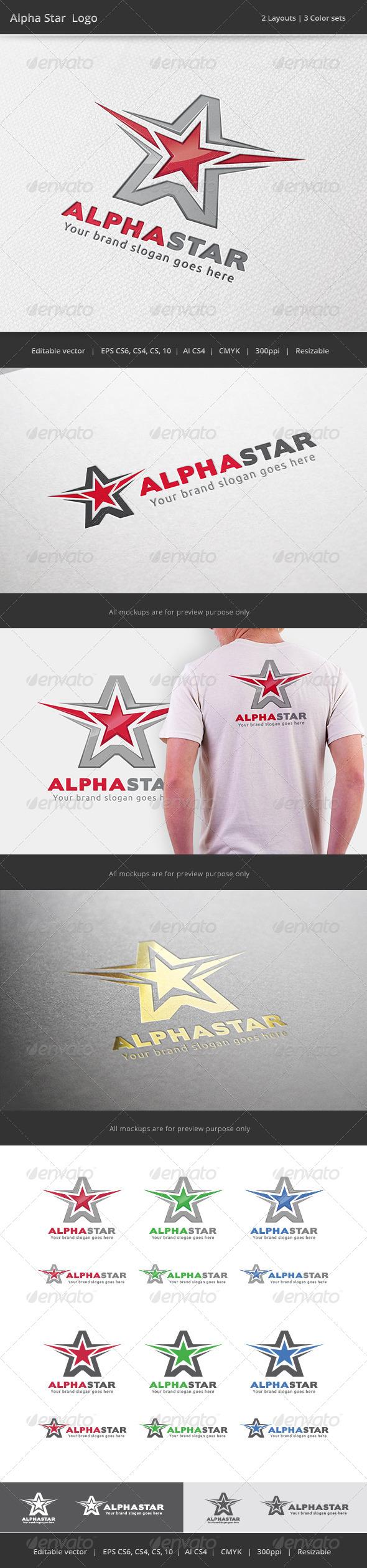 Alpha Star A Letter Logo