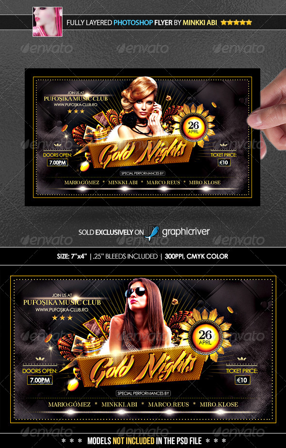 Gold Nights Poster/Flyer - Flyers Print Templates