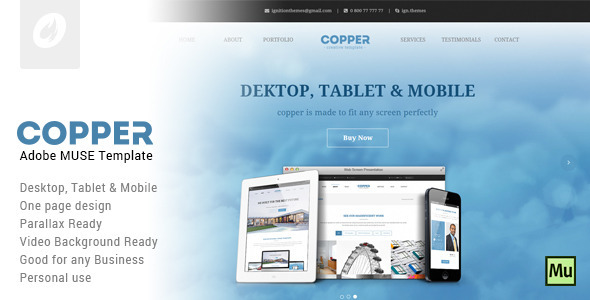 Copper – Creative Adobe Muse Template