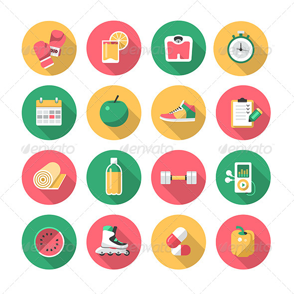 Fitness - Flat Icons - Objects Icons