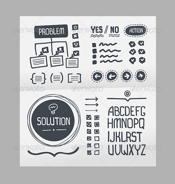 Action Plan - Hand Drawn Elements Template - Decorative Vectors