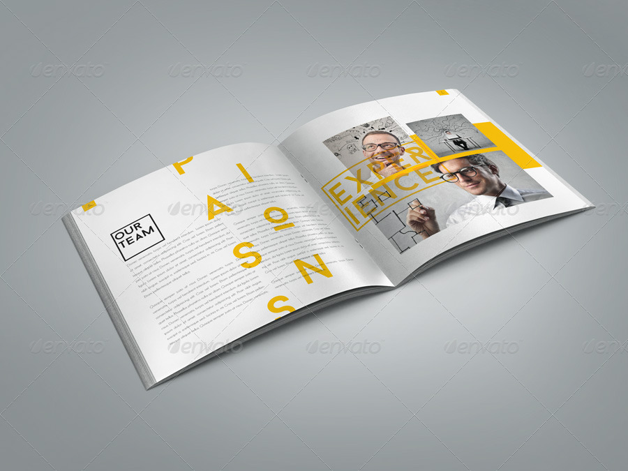 retro style square brochure indesign by braxas