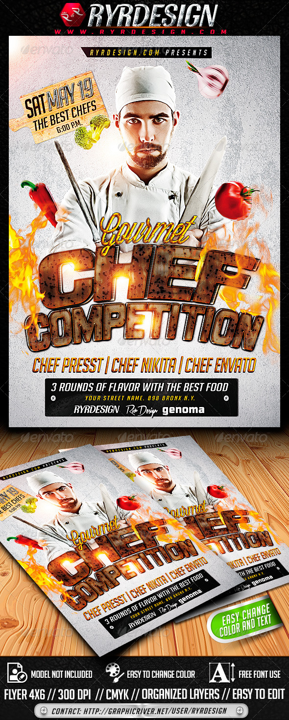 Chef Food Contest Flyer PSD - Events Flyers
