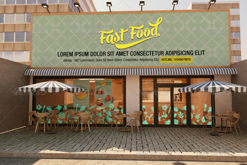 The Mockup Branding For Fast Food Outlets by Wutip | GraphicRiver