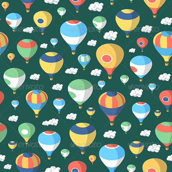 Hot Air Balloons Seamless Pattern - Backgrounds Decorative