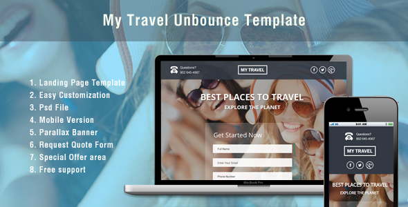Unbounce Landing Page Template for Travel - Unbounce Landing Pages Marketing