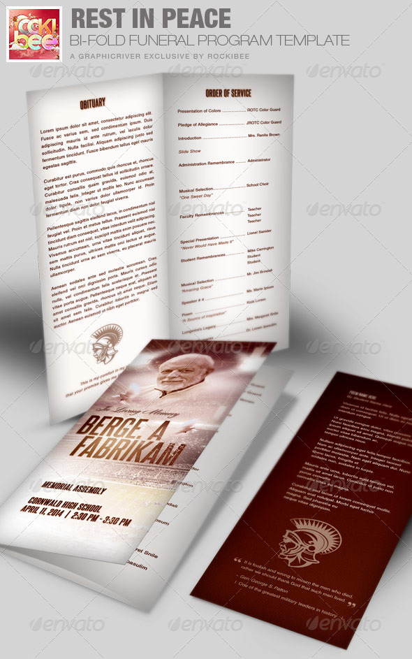 rest in peace funeral program template by rockibee graphicriver