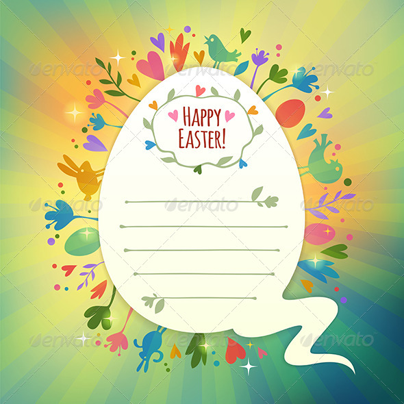 Retro Easter Card with Symbols of Spring - Decorative Symbols Decorative