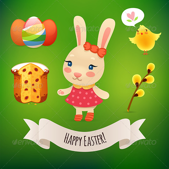 Bunny Girl and Easter Symbols - Animals Characters