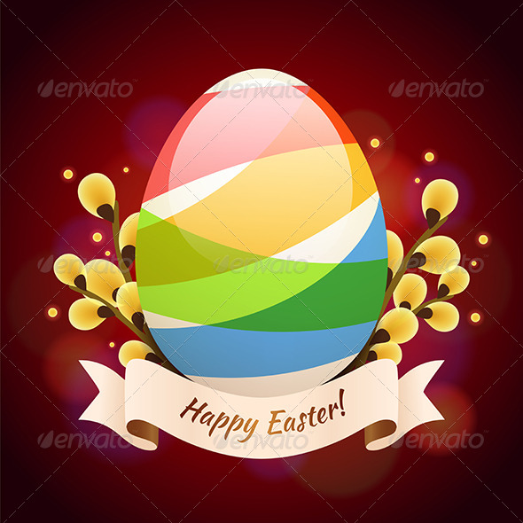 Happy Easter Greening Card with Colored Egg - Miscellaneous Seasons/Holidays