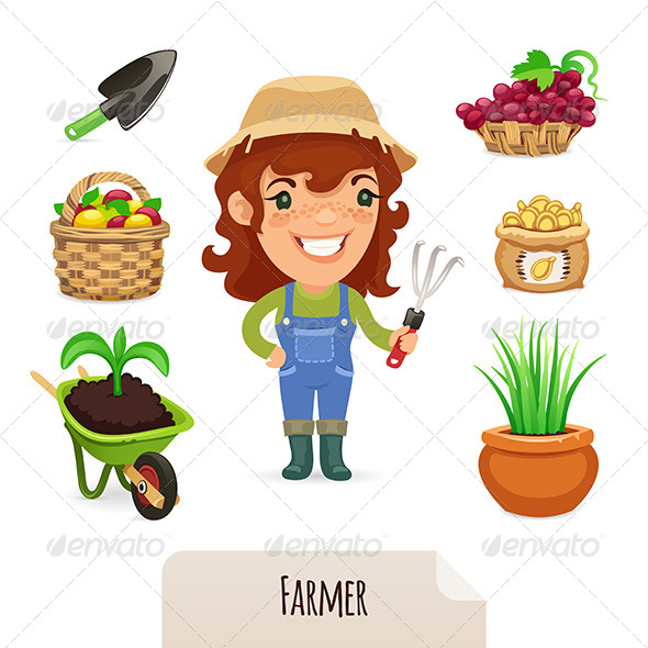 Female Farmer Icons Set - People Characters