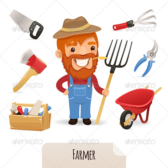 Farmer Icons Set - People Characters