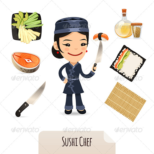 Female Sushi Chef Icons Set - People Characters