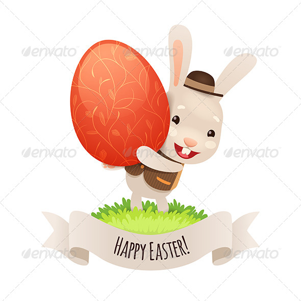Happy Easter Bunny with Red Egg - Miscellaneous Seasons/Holidays