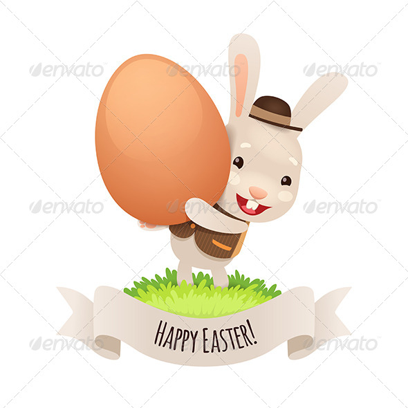 Happy Easter Bunny With Egg - Miscellaneous Seasons/Holidays