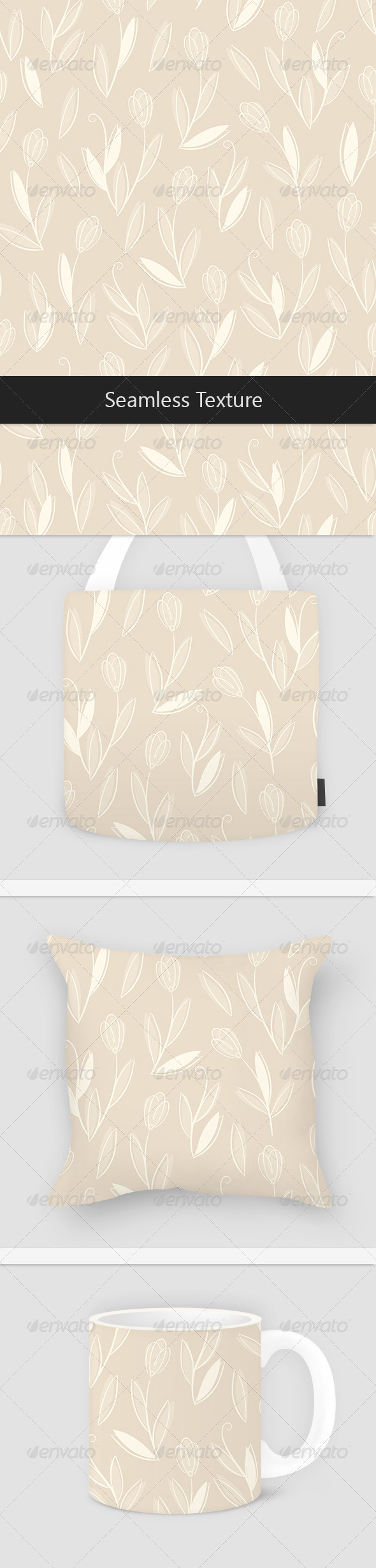 White Floral on Beige Pattern - Patterns Decorative